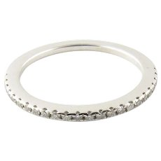 Vintage 14 Karat White Gold Diamond Wedding Band Size 5.5
