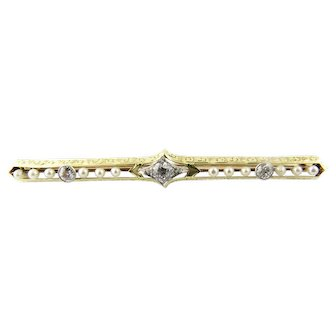 Vintage 14 Karat Yellow Gold and Diamond Bar Pin