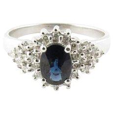 Vintage 14 Karat White Gold Sapphire and Diamond Ring Size 8.5