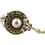 Victorian Etruscan Revival 14K Yellow Gold and Mabe Pearl Pin Pendant