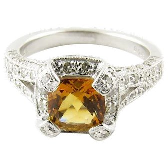 Vintage 14 Karat White Gold Citrine and Diamond Ring Size 6