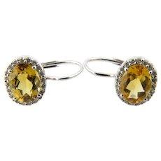 Vintage 14 Karat White Gold Citrine and Diamond Earrings