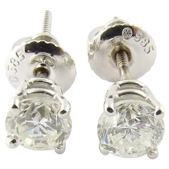 Vintage 14 Karat White Gold Diamond Stud Earrings .78 ct. twt.