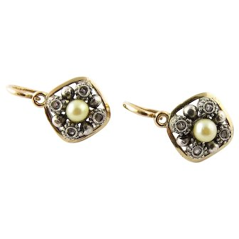 Vintage 18 Karat Yellow Gold Diamond and Pearl Earrings