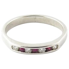 Vintage 14 Karat White Gold Ruby and Diamond Ring Size 6.25