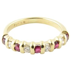 Vintage 14 Karat Yellow Gold Ruby and Diamond Ring Size 5