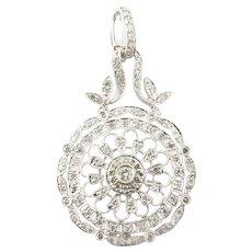 Vintage 14 Karat White Gold and Diamond Pendant