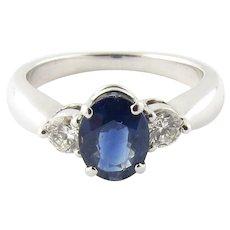Vintage 14 Karat White Gold Sapphire and Diamond Ring Size 7.5
