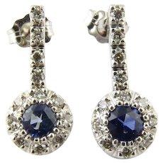 Vintage 14 Karat White Gold Sapphire and Diamond Earrings