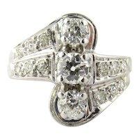 Vintage 14K White Gold 3 Stone Center Row Diamond Ring, Size 7.25