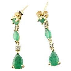 Vintage 10 Karat Yellow Gold Emerald and Diamond Earrings