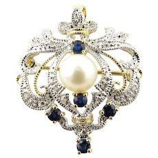 Vintage 14 Karat White and Yellow Gold Diamond, Sapphire and Pearl Brooch/Pendant