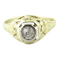 Vintage 14K White and Yellow Gold Art Deco Diamond Topped Dome Ring, Size 6.25