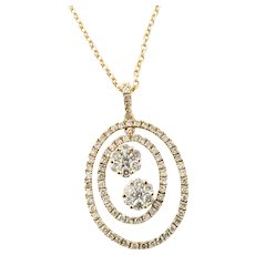 Vintage 14 Karat Rose Gold and Diamond Pendant Necklace