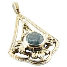 Vintage 12 Karat White Gold and Sterling Silver Blue Gemstone Pendant