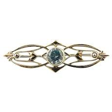 Vintage 12 Karat White Gold and Sterling Silver Blue Gemstone Pin/Brooch