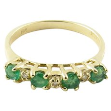 Vintage 14 Karat Yellow Gold Emerald and Diamond Ring Size 5.75