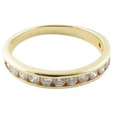 Vintage 14 Karat Yellow Gold Diamond Wedding Band Size 7