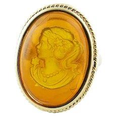 Vintage 14 Karat Yellow Gold and Amber Ring Size 8