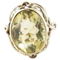Vintage 10 Karat Yellow Gold Citrine Ring Size 6.5