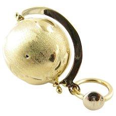 Vintage 18 Karat Yellow Gold Mechanical Globe Charm
