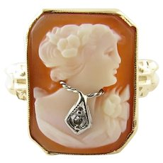 Vintage 10 Karat Yellow Gold and Diamond Cameo Ring Size 7