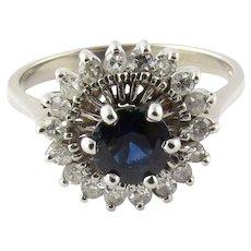 Vintage 14 Karat White Gold Sapphire and Diamond Ring Size 5.75
