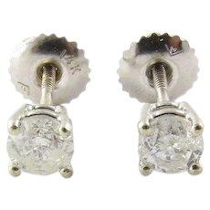 Vintage 14 Karat White Gold Diamond Stud Earrings .53 ct. twt.