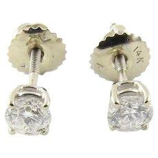 Vintage 14 Karat White Gold Diamond Stud Earrings .50 ct. twt.