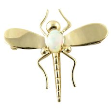 Vintage 14 Karat Yellow Gold and Opal Dragonfly Brooch/Pin