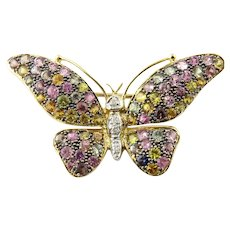 Vintage 14 Karat Yellow Gold Gemstone Butterfly Pin/Brooch