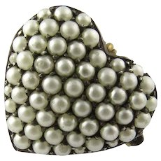 Antique Victorian Sterling Silver Pave Pearl Heart Pendant/Brooch