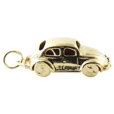 Vintage 14 Karat Yellow Gold Mechanical Volkswagen Beetle Charm