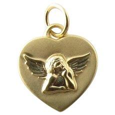 Vintage 14 Karat Yellow Gold Guardian Angel Heart Charm