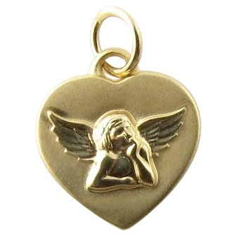 Vintage 14 Karat Yellow Gold Guardian Angel Heart Charm