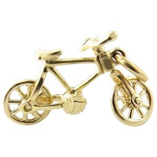 Vintage 14 Karat Yellow Gold Mechanical Bicycle Charm