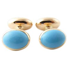 Vintage 14 Karat Yellow Gold and Turquoise Cufflinks