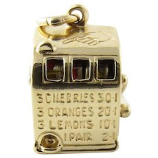 Vintage 14 Karat Yellow Gold Mechanical Slot Machine Charm