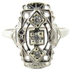 Vintage 14 Karat White Gold and Diamond Ring Size 7.5