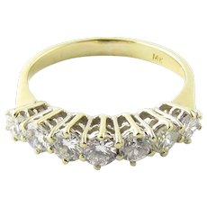 Vintage 14 Karat Yellow Gold Diamond Wedding Band Size 7.75