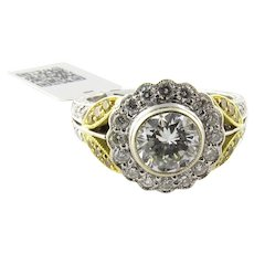 18K White and Gold Natural White and Yellow Diamond Flower Ring Size 7