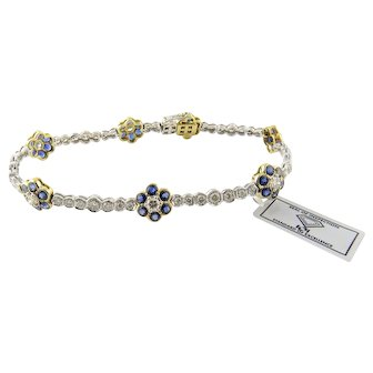 18K White and Yellow Gold Natural Sapphire and Diamond Floral Bracelet 7 1/8""