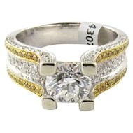 18K White and Gold Natural White and Yellow Diamond Ring Size 6.5