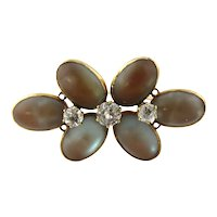 Antique Victorian 14K Yellow Gold Saphrite and Spinel Flower Brooch Pin