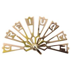 "Vintage 10 Karat Yellow Gold ""Te Quiero"" Fan Charm"