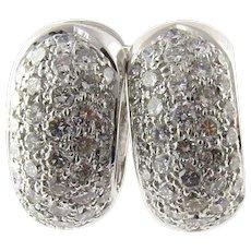 Vintage 14 Karat White Gold Diamond Huggie Earrings