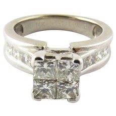 Vintage 14 Karat White Gold Diamond Engagement Ring Size 7