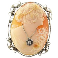 Vintage 14 Karat White Gold and Diamond Cameo Brooch/Pendant