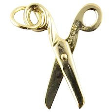 Vintage 14 Karat Yellow Gold Articulated Scissors Charm