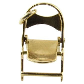 Vintage 14 Karat Yellow Gold Articulated Folding Chair Charm
